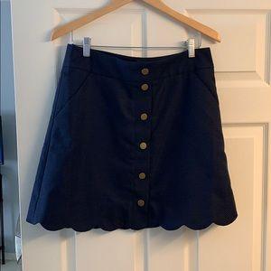J CREW Navy Blue Button Up Scalloped Skirt